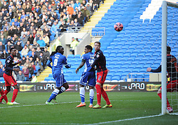 Cardiff City's Kenwyne Jones scores with a header to make it 1-0 to cardiff. - Photo mandatory by-line: Alex James/JMP - Mobile: 07966 386802 - 24/01/2015 - SPORT - Football - Cardiff - Cardiff City Stadium - Cardiff City v Reading - FA Cup Fourth Round