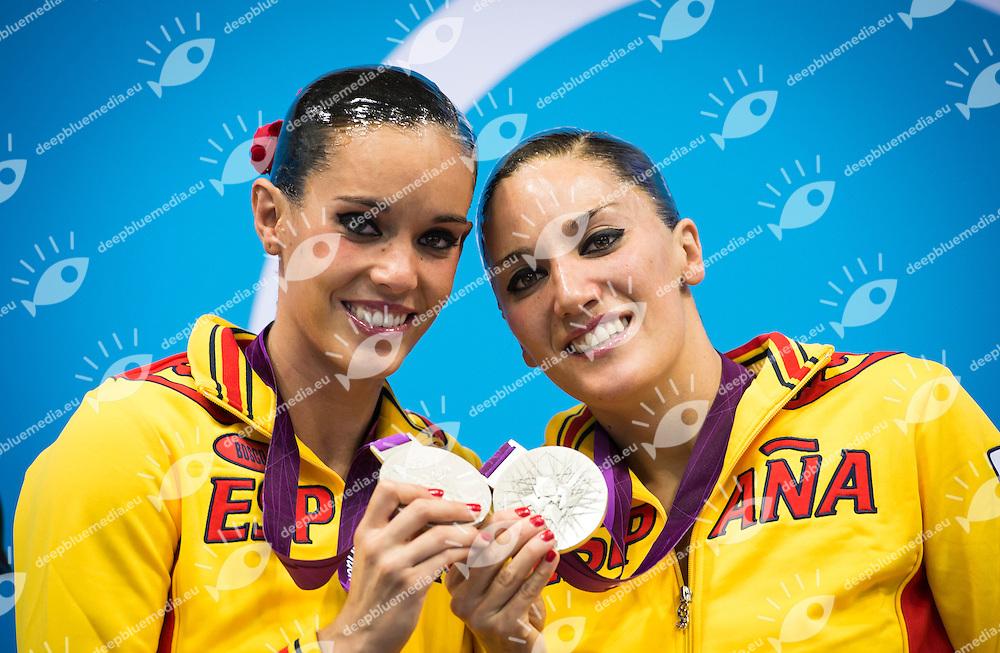 CARBONELL BALLESTERO Ona, FUENTES FACHE Andrea Spain (Silever Medal).Synchronized Swimming duet final podium.London 2012 Olympics - Olimpiadi Londra 2012.day 12 Aug.7.Photo G.Scala/Deepbluemedia.eu/Insidefoto