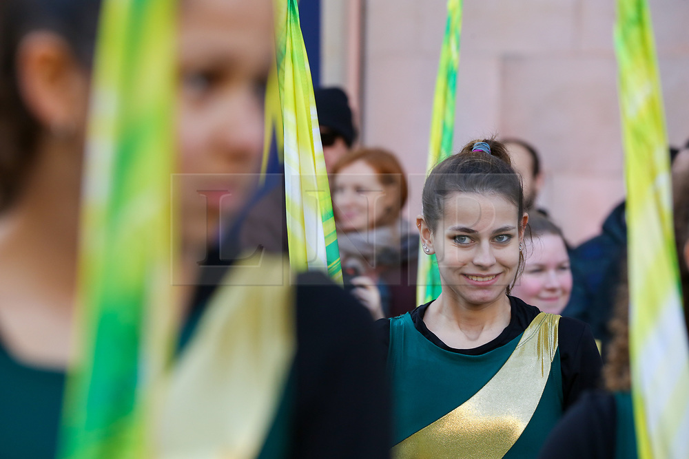 © Licensed to London News Pictures. 30/12/2019. London, UK. Performers from Glenbrook North High School Spartan Marching Band perform at the preview of the London New Year's Day Parade in Covent Garden Piazza.<br /> The London New Years Day Parade, in its 32nd year will take place on 1 January 2020 and will feature more than 10,000 performers from across the world. Photo credit: Dinendra Haria/LNP