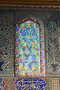 Stained Glass window in Privy Chamber of Crown Prince in Topkapi Palace, Sarayi, in Istanbul, Republic of Turkey