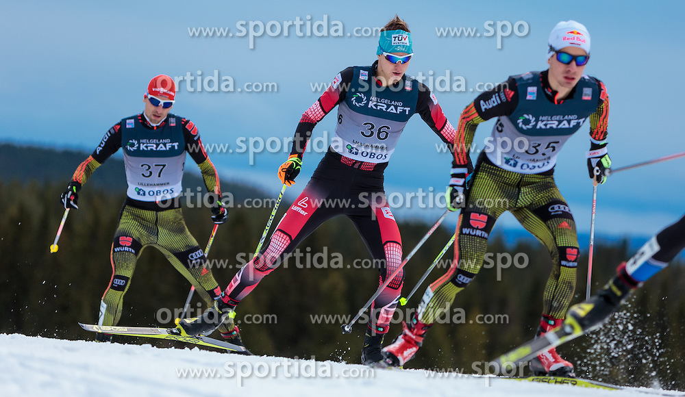 05.12.2015, Nordic Arena, NOR, FIS Weltcup Nordische Kombination, Lillehammer, Langlauf, im Bild v.l.: Björn Kircheisen (GER), Harald Lemmerer (AUT), Jakob Lange (GER) // Björn Kircheisen of Germany, Harald Lemmerer of Austria, Jakob Lange of Germany during Cross Country Competition of FIS Nordic Combined World Cup at the Nordic Arena, Lillehammer, Norway on 2015/12/05. EXPA Pictures © 2015, PhotoCredit: EXPA/ JFK