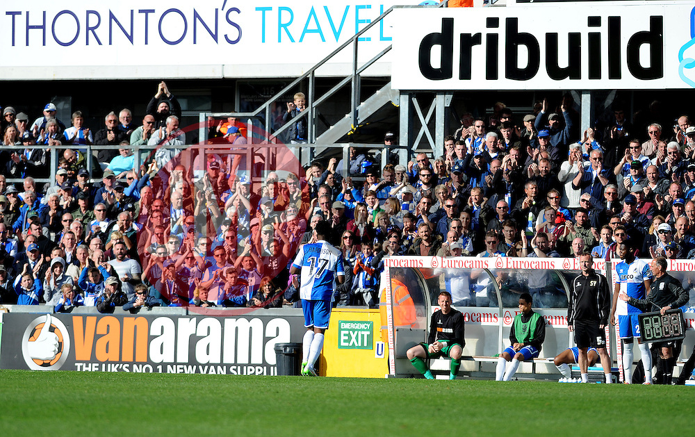 Bristol Rovers' Ellis Harrison goes off to a standing ovation - Photo mandatory by-line: Neil Brookman/JMP - Mobile: 07966 386802 - 11/04/2015 - SPORT - Football - Bristol - Memorial Stadium - Bristol Rovers v Southport - Vanarama Football Conference