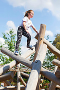 UNITED KINGDOM, London: 16 May 2019 <br /> Mercedes Milgrew, aged 8, enjoys climbing on one of the installations in Royal Botanical Gardens Kew new Children's Garden which officially opens on the 18th of May 2019. The impressive and colourful space covers 10,000 square metres and is designed around the elements that plants need to survive.<br /> Rick Findler / Story Picture Agency