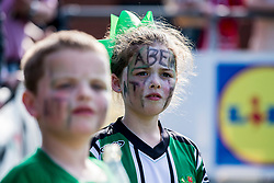NEWTOWN, WALES - Sunday, May 6, 2018: Two young Aberystwyth Town supporters with painted faces look on during the FAW Welsh Cup Final between Aberystwyth Town and Connahs Quay Nomads at Latham Park. (Pic by Paul Greenwood/Propaganda)