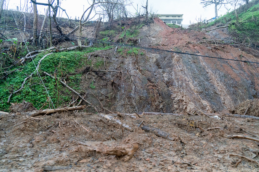 OCTOBER 6, 2017--MAYAGUEZ, PUERTO RICO ---<br /> A small landslide on the West coast of Puerto Rico following the path of Hurricane Maria through Puerto Rico.<br /> (Photo by Angel Valentin/Freelance)