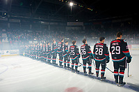 KELOWNA, CANADA - SEPTEMBER 22:  The Kelowna Rockets line up for their home opener against the Kamloops Blazers on September 22, 2018 at Prospera Place in Kelowna, British Columbia, Canada.  (Photo by Marissa Baecker/Shoot the Breeze)  *** Local Caption ***