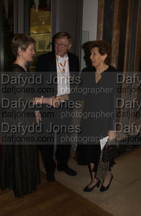 President of the Royal Academy Sir Nicholas and Lady Grimshaw and Lady Bellinger. Opening of  China: The three Emperors, 1662-1795. Royal Academy. 8 November 2005 . ONE TIME USE ONLY - DO NOT ARCHIVE © Copyright Photograph by Dafydd Jones 66 Stockwell Park Rd. London SW9 0DA Tel 020 7733 0108 www.dafjones.com