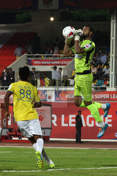 FC Pune City goalkeeper Arindam Bhattacharya during match 17 of the Hero Indian Super League between FC Pune City<br /> and Kerala Blasters FC held at the Shree Shiv Chhatrapati Sports Complex Stadium, Pune, India on the 30th October 2014.<br /> <br /> Photo by:  Ron Gaunt/ ISL/ SPORTZPICS