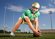 Buford long snapper, Blake Ferguson, stands in for a portrait at Buford High School on Monday in Buford. Ferguson is committed to the LSU football program as a dedicated long snapper. Entering into the 2014 season, he was ranked the third best long snapper in the country. (Staff Photo: David Welker)