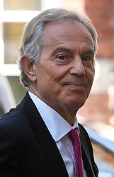 "© London News Pictures. 24/05/2016. London, UK. Former British prime minister TONY BLAIR arrives at Methodist Central Hall in Westminster, London, to deliver a speech and question and answer session with the audience. titled ""Britain in the World"". Photo credit: Ben Cawthra/LNP"