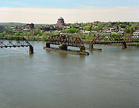 Railroad turnstile bridge over the Connecticut River at Middletown, CT