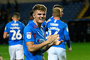 Joe Hancott (25) of Portsmouth applauds the fans after the the team won the penalty shoot out at full time during the Leasing.com EFL Trophy match between Oxford United and Portsmouth at the Kassam Stadium, Oxford, England on 8 October 2019.