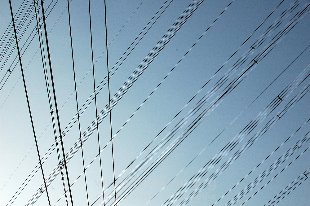 China, Beijing, Ping Fang Xiang, 2008. Power lines criss-cross the neighborhood on the north side of Chao Yang Bei Lu outside the 5th Ring Road..