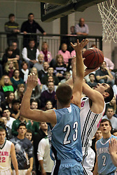 08 February 2014: Pat Sodermann & Taylor Baxter  during an NCAA mens division 3 CCIW basketball game between the Elmhurst Bluejays and the Illinois Wesleyan Titans in Shirk Center, Bloomington IL