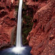Dramatic Mooney Falls plunges into Havasu Canyon, AZ.