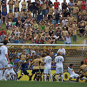 The ball creeps in past the past the post for Newcastle's first goal in their 3-2 win during the Newcastle Jets V North Queensland Fury  A-League match at Energy Australia Stadium, Newcastle, Australia, 20 December 2009. Photo Tim Clayton