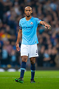 Vincent Kompany (#4) of Manchester City FC during the Champions League quarter-final leg 2 of 2 match between Manchester City and Tottenham Hotspur at the Etihad Stadium, Manchester, England on 17 April 2019.