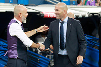 Real Madrid's coach Zinedine Zidane (r) and ACF Fiorentina's coach Stefano Pioli during Santiago Bernabeu Trophy. August 23,2017. (ALTERPHOTOS/Acero)