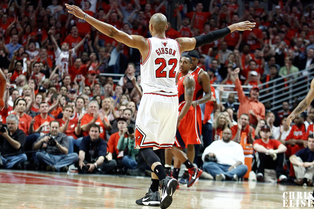 10 May 2011: Chicago Bulls forward Taj Gibson (22) celebrates during the Chicago Bulls 95-83 victory over the Atlanta Hawks, during game 5 of the Eastern Conference semi finals at the United Center, Chicago, Illinois, USA.