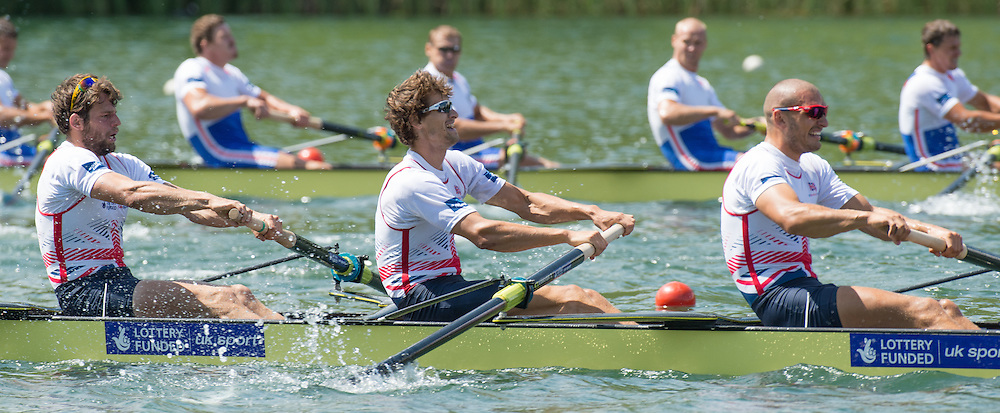 Lucerne, SWITZERLAND.  left to right Tom RANSLEY, Paul BENNETT and Mo SBIHI, at the  2014 FISA WC III, Lake Rotsee.  15:08:31  Sunday  13/07/2014  [Mandatory Credit; Peter Spurrier/Intersport-images]
