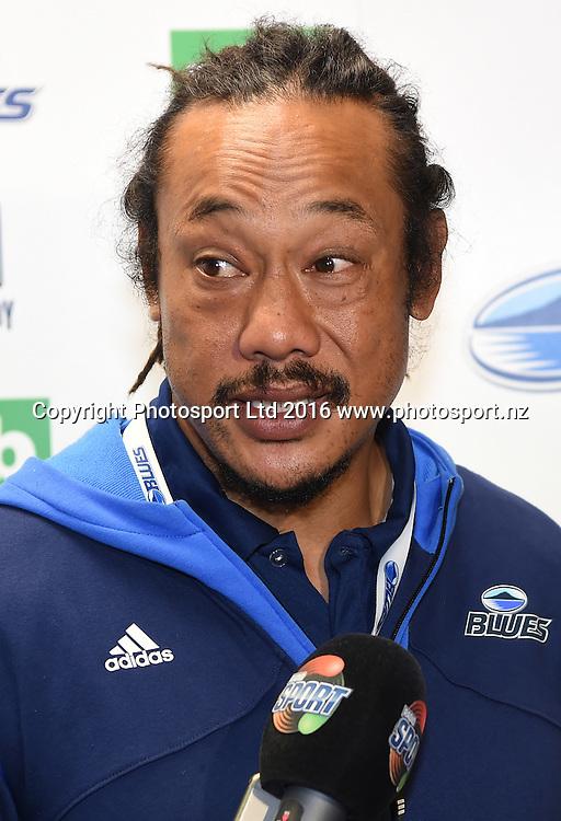 Blues Coach Tana Umaga at the post match press conference at Eden Park in Auckland, New Zealand. Saturday 16 April 2016. Copyright Photo: Andrew Cornaga / www.Photosport.nz
