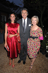 Left to right, INES SASTRE, ARNAUD BAMBERGER and MRS FORBES SINGER at the annual Cartier Chelsea Flower Show dinner held at the Chelsea Physic Garden, London on 21st May 2007.<br />