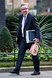 © Licensed to London News Pictures. 27/01/2015. LONDON, UK. Chief Whip Michael Gove attending to a cabinet meeting in Downing Street on Tuesday, 27 January 2015. Photo credit: Tolga Akmen/LNP