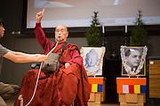 Japan-born monk Surai Sasai speaks at the headquarters of the Shingon Buddhist sect on Mount Koya, Wakayama Prefecture, on June 14 2015. The portraits depict Buddha and Dalit social reformer Bhimrao Ramji Ambedkar.<br /> <br /> Photo by Christina Sj&ouml;gren