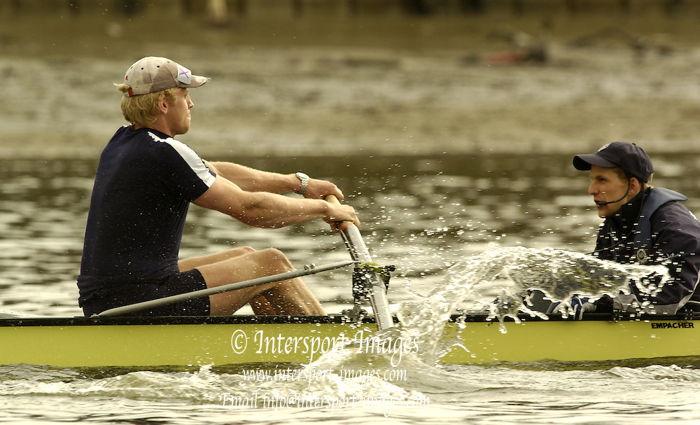 2005 Varsity Boat Race. Tideway Week, Putney, London, ENGLAND. Friday, Oxford training session..Oxford Stroke andy Twiggs-Hodge  [left] puts a bend in the oar, during a practive start in the morning training session on the River Thames. Cox [right] Acer nethercott..Photo  Peter Spurrier. .email images@intersport-images....[Mandatory Credit Peter Spurrier/ Intersport Images]