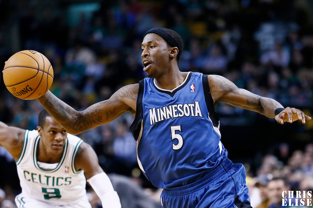 05 December 2012: Minnesota Timberwolves small forward Josh Howard (5) drives past Boston Celtics point guard Rajon Rondo (9) on a fast break during the Boston Celtics 104-94 victory over the Minnesota Timberwolves at the TD Garden, Boston, Massachusetts, USA.
