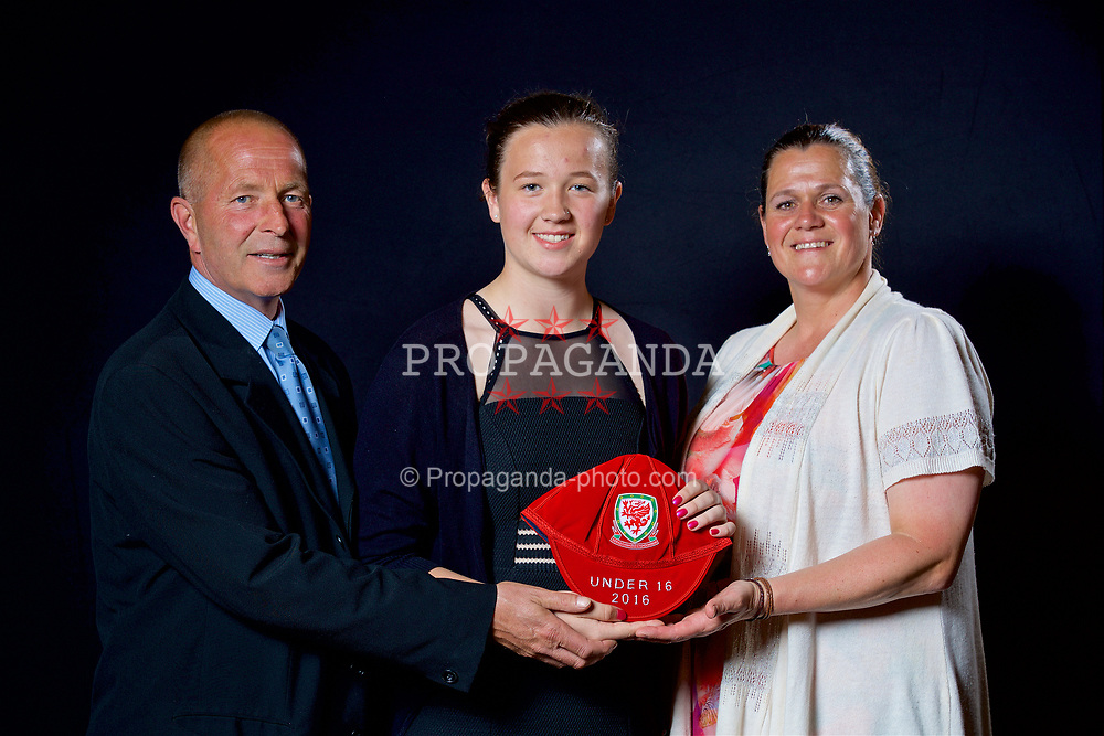 NEWPORT, WALES - Saturday, May 27, 2017: Deanna Lewis and family with her Under-16 Wales cap at the Celtic Manor Resort. (Pic by David Rawcliffe/Propaganda)