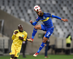 Cape Town-180818 Cape Town City defender Taariq Fielies wins an aerial ball against  Lerato Lamola of Golden Arrows in a PSL match at Cape Town Stadium .photograph:Phando Jikelo/African News Agency/ANA