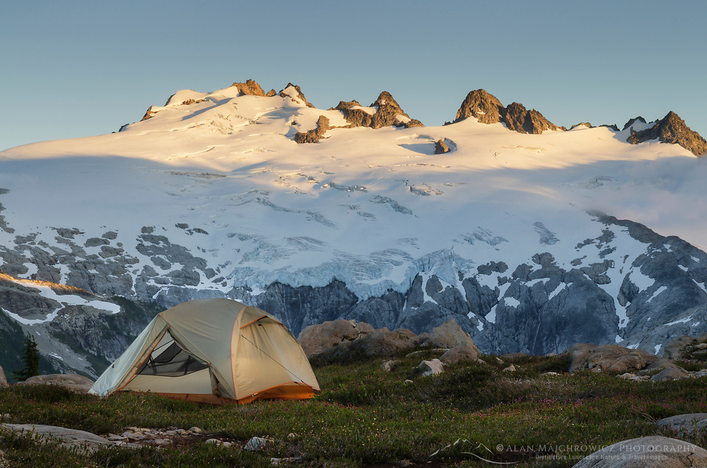 Backcountry camp near Middle Lakes, Mount Challenger seen in the distance. North Cascades National Park Washington