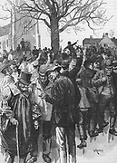 Warwickshire farm labourers' strike meeting of 1872 at Whitnash near Wellesbourne, led by Joseph Arch. Engraving c1880.