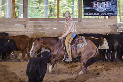 May 20, 2017 - Minshall Farm Cutting 3, held at Minshall Farms, Hillsburgh Ontario. The event was put on by the Ontario Cutting Horse Association. Riding in the Open Class is Eric Van Boekel on Mister Boss Hog owned by the rider.