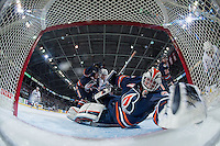 KELOWNA, CANADA - APRIL 1:  Connor Ingram #39 of Kamloops Blazers watches the puck cross the goal line on a shot from Rodney Southam #17 of Kelowna Rockets on April 1, 2016 at Prospera Place in Kelowna, British Columbia, Canada.  (Photo by Marissa Baecker/Shoot the Breeze)  *** Local Caption *** Connor Ingram; Rodney Southam;