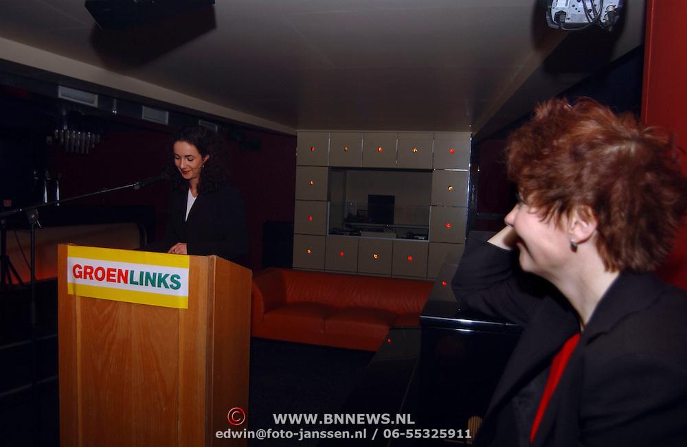 Start verkiezingscampagne GroenLinks, Paul Rosenmöller, Marijke Vos kijkt toe