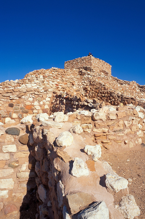 Morning light on pueblo rooms and watch tower (Sinagua Indians), Tuzigoot National Monument, Arizona.