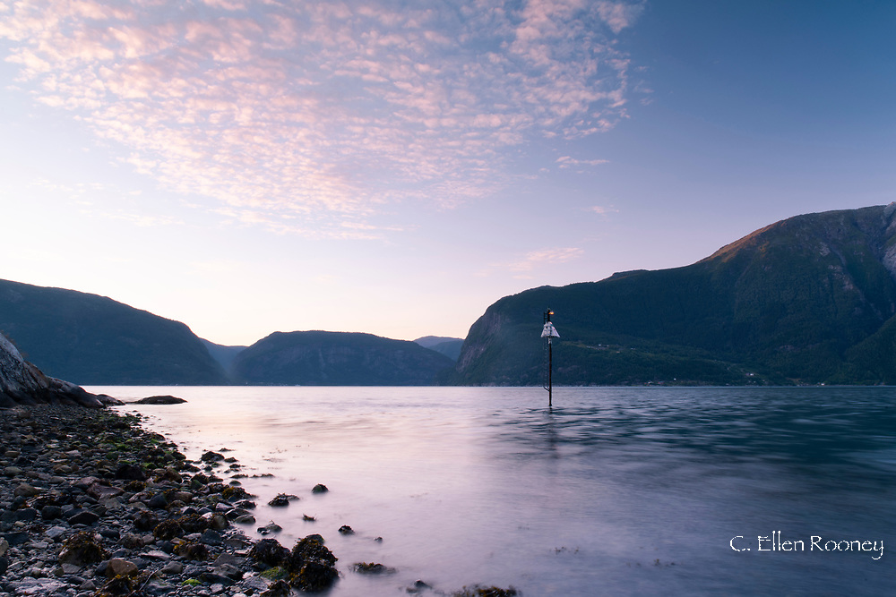 Mountain scenery around Hardanger Fjord at sunset, Vestlandet, Norway, Europe