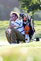 DEN DOLDER - Tim Sluiter, die als tweede eindigde, baalt, tijdens het NK Strokeplay golf op Golfsocieteit  De Lage Vuursche. COPYRIGHT KOEN SUYK