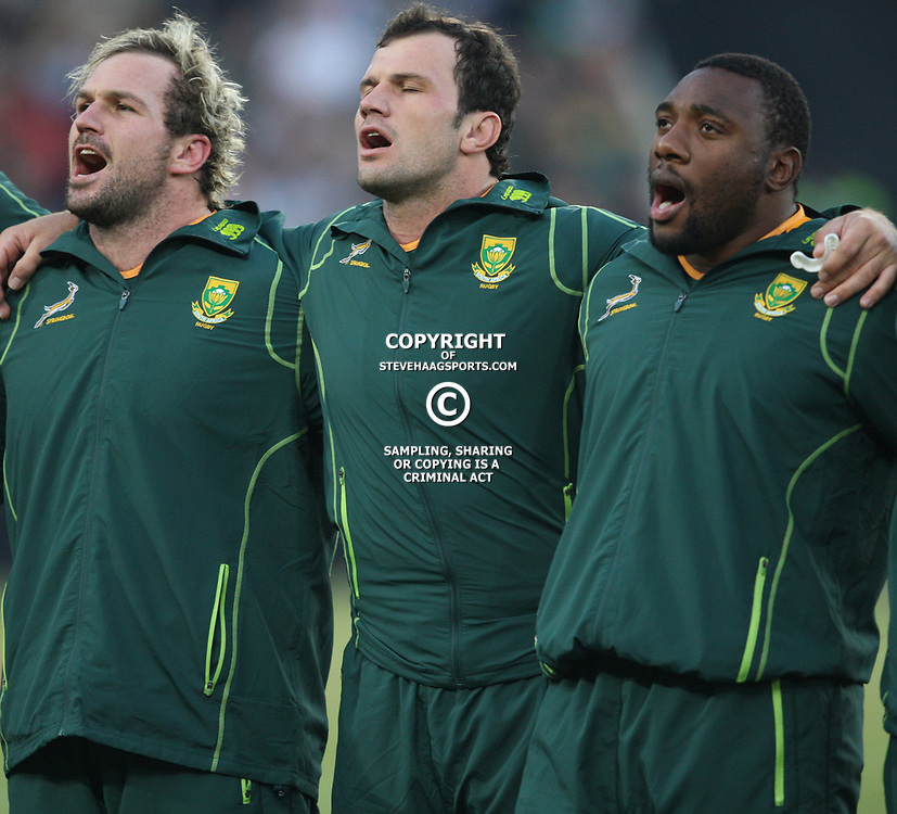 JOHANNESBURG, SOUTH AFRICA - JUNE 16, Jannie du Plessis with Bismarck du Plessis and Tendai Mtawarira during the 2nd Castle Lager Incoming Tour test match between South Africa and England from Coca Cola Park on June 16, 2012 in Johannesburg, South Africa<br /> Photo by Steve Haag / Gallo Images