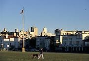 Marina District, person walking dog, woman walking dog, San Francisco Bay, San Francisco, California