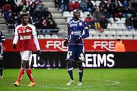 Benjamin MOUKANDJO / Cedric MONGONGU  - 13.12.2014 - Reims / Evian Thonon  - 18eme journee de Ligue1<br />Photo : Fred Porcu / Icon Sport