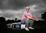 Luke Donald portrait with his Mizuno bag<br /> at the Cadillac WGC 2012, Doral Miami, USA<br /> <br /> Picture Credit:  Mark Newcombe / visionsingolf.com