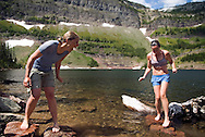 Waterton National Park, Alberta, Canada, July 2008. A refreshing swim at Twin Lakes Campsite turned out a bit too cold for the girls. The Tamarack trail is a multiple day hike in the Rocky Mountains. Photo by Frits Meyst/Adventure4ever.com