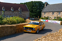 Boness Revival hillclimb motorsport event in Boness, Scotland, UK. The 2019 Bo'ness Revival Classic and Hillclimb, Scotland's first purpose-built motorsport venue, it marked 60 years since double Formula 1 World Champion Jim Clark competed here.  It took place Saturday 31 August and Sunday 1 September 2019. 44. Gary Maxwell. Ford Escort.