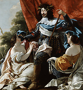 Louis XIII between female figures representing France and Navarre. Oil on canvas by Simon Vouet (1590-1649) French painter.  Kingdoms of France and Navarre united on the accession of Henry of Navarre as Henry IV of France, Louis' father, in 1589.
