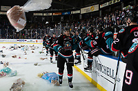 KELOWNA, CANADA - DECEMBER 1:  Devin Steffler #4 of the Kelowna Rockets celebrates a second period goal at the bench as Teddy Bears fall to the ice against the Saskatoon Blades on December 1, 2018 at Prospera Place in Kelowna, British Columbia, Canada.  (Photo by Marissa Baecker/Shoot the Breeze)