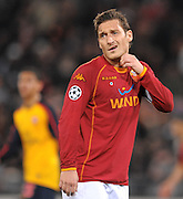 Francesco Totti reacts during the UEFA Champions League, Round of Last 16, Second Leg match between AS Roma and Arsenal at the Stadio Olimpico on March 11, 2009 in Rome, Italy.
