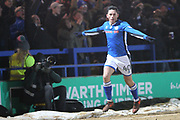 GOAL Ian Henderson celebrates scoring 1-0 during the The FA Cup 4th round replay match between Rochdale and Millwall at Spotland, Rochdale, England on 6 February 2018. Picture by Daniel Youngs.